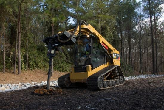 Cat® A26B Auger at Work on a 277D Multi Terrain Loader