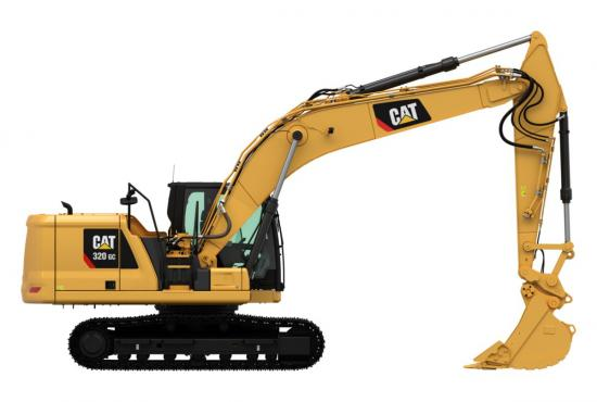320 GC Excavator with a full bucket